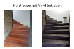 Holztreppe mit Vinyl bekleben